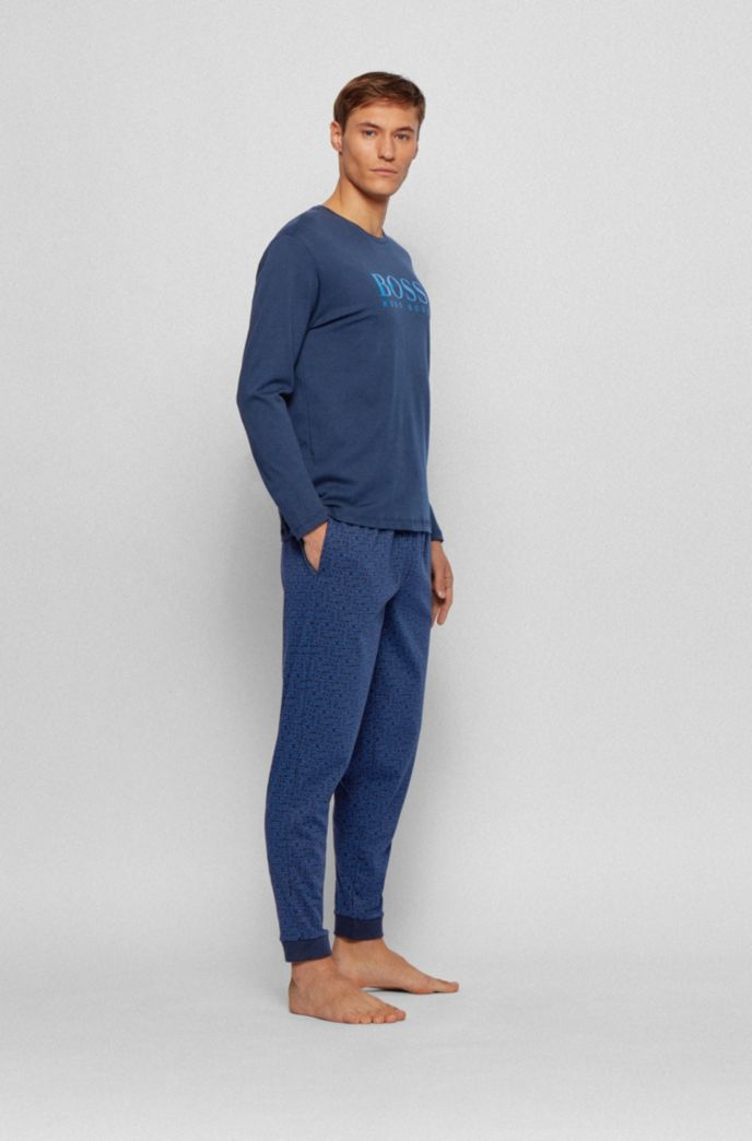 Gift-boxed pyjama set in cotton with logo details