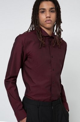 Extra Slim-Fit Hemd aus fein strukturiertem Baumwoll-Canvas, Dunkelrot