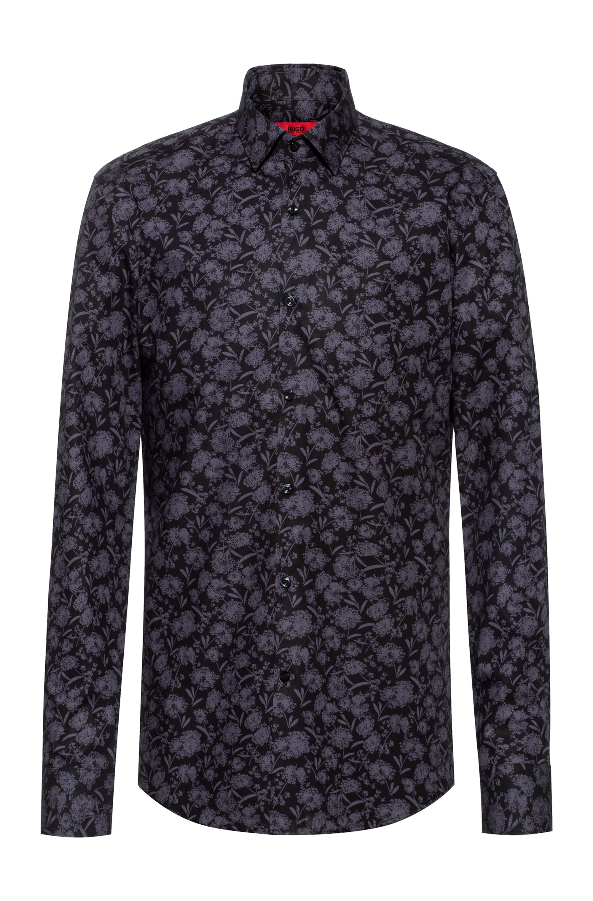 Slim-fit shirt in cotton with new-season print, Black Patterned