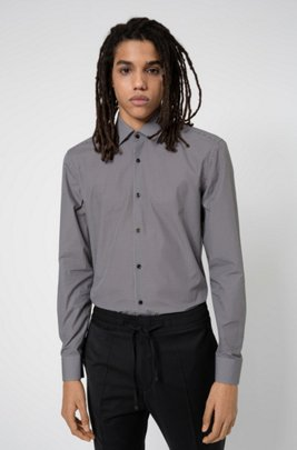 Slim-fit shirt in cotton with new-season print, Grey