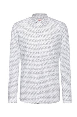 Cotton-canvas extra-slim-fit shirt with new-season print, White Patterned