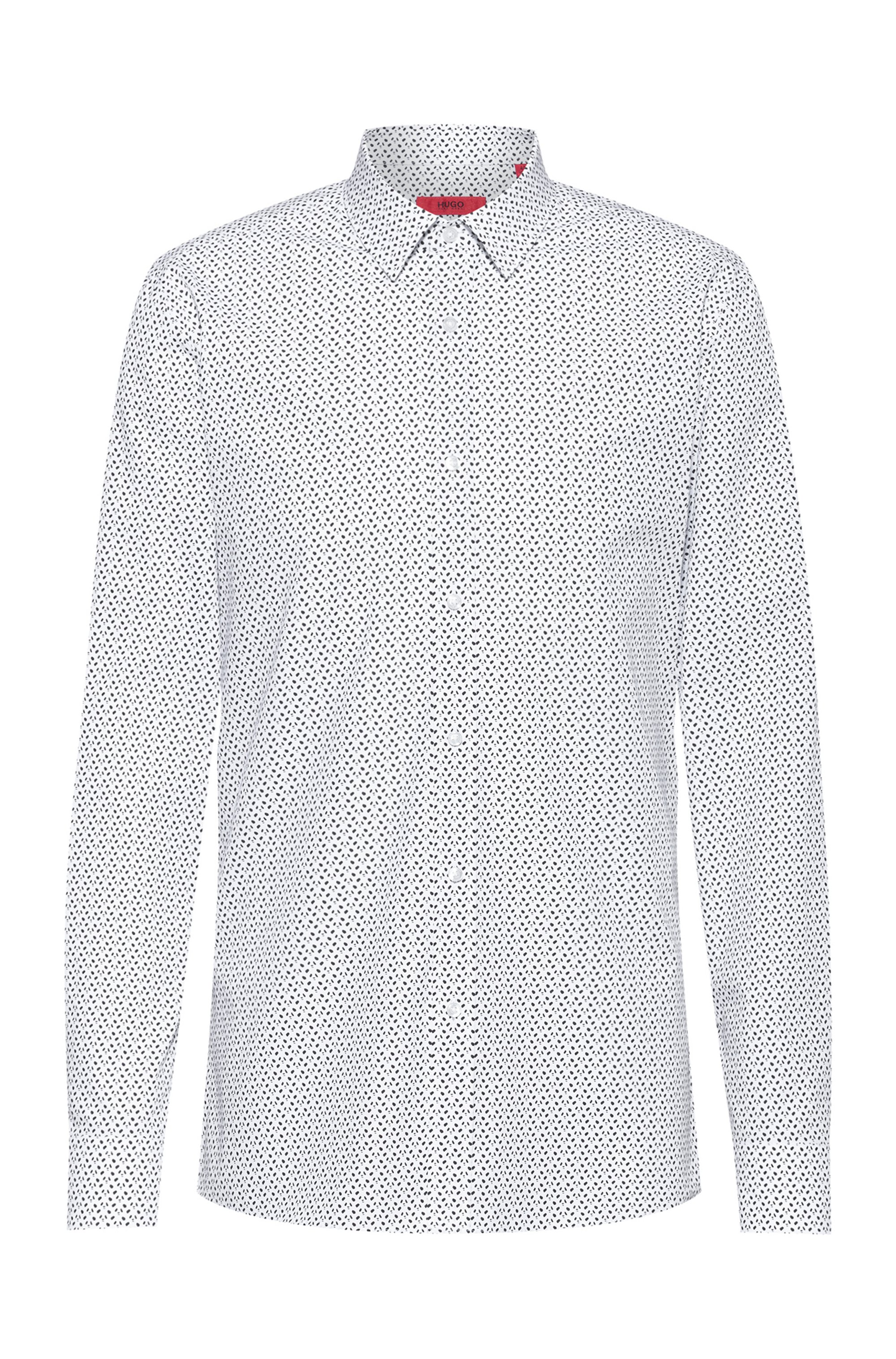 Cotton-canvas extra-slim-fit shirt with new-season print, White