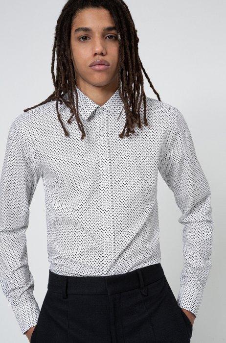 Extra slim-fit overhemd van katoenen canvas met nieuwe print, Wit