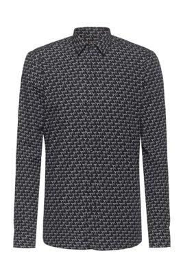 Camicia extra slim fit in tela di cotone con stampa della nuova stagione, Nero a motivi
