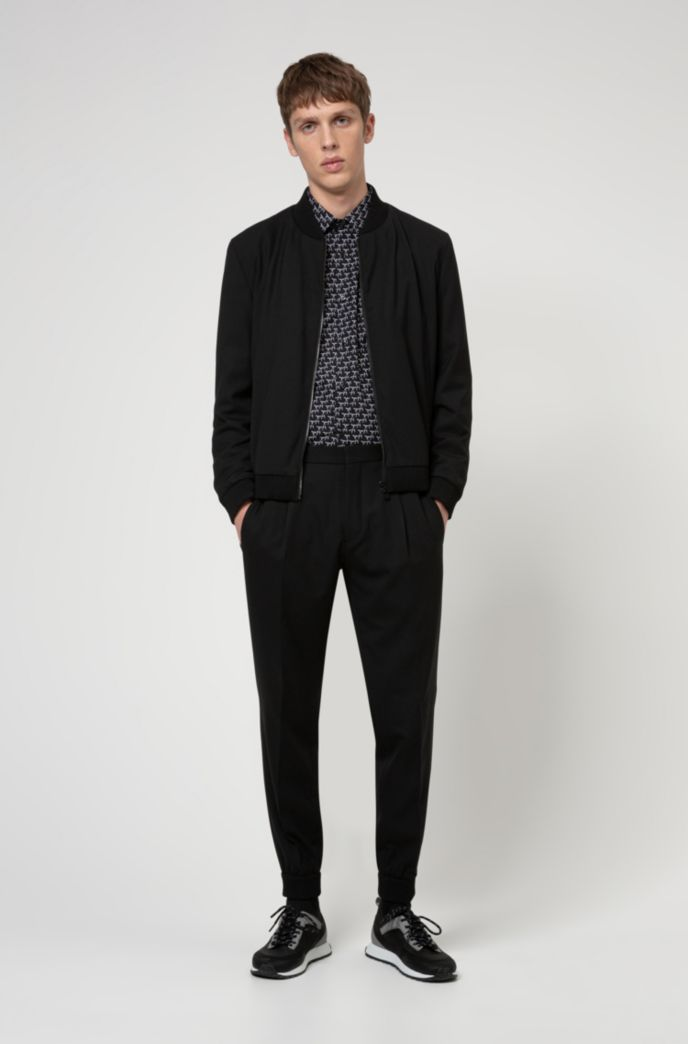 Cotton-canvas extra-slim-fit shirt with new-season print