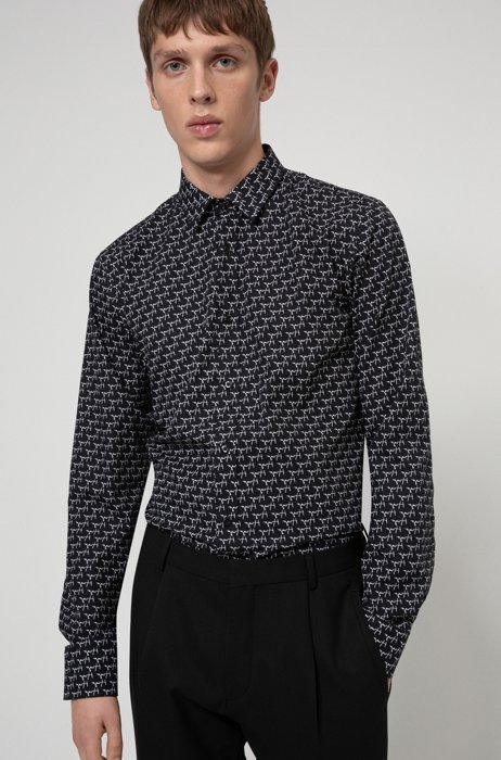 Cotton-canvas extra-slim-fit shirt with new-season print, Black Patterned