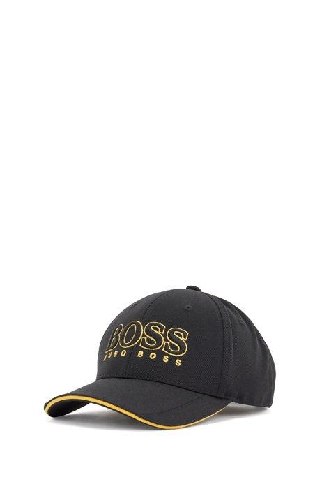 Cap aus Mesh-Piqué mit 3D-Logo, Schwarz
