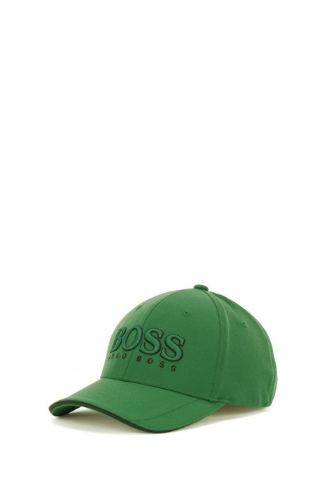 3D-logo cap in mesh piqué, Green