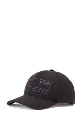 Cotton-blend cap with contrast logo print, Black