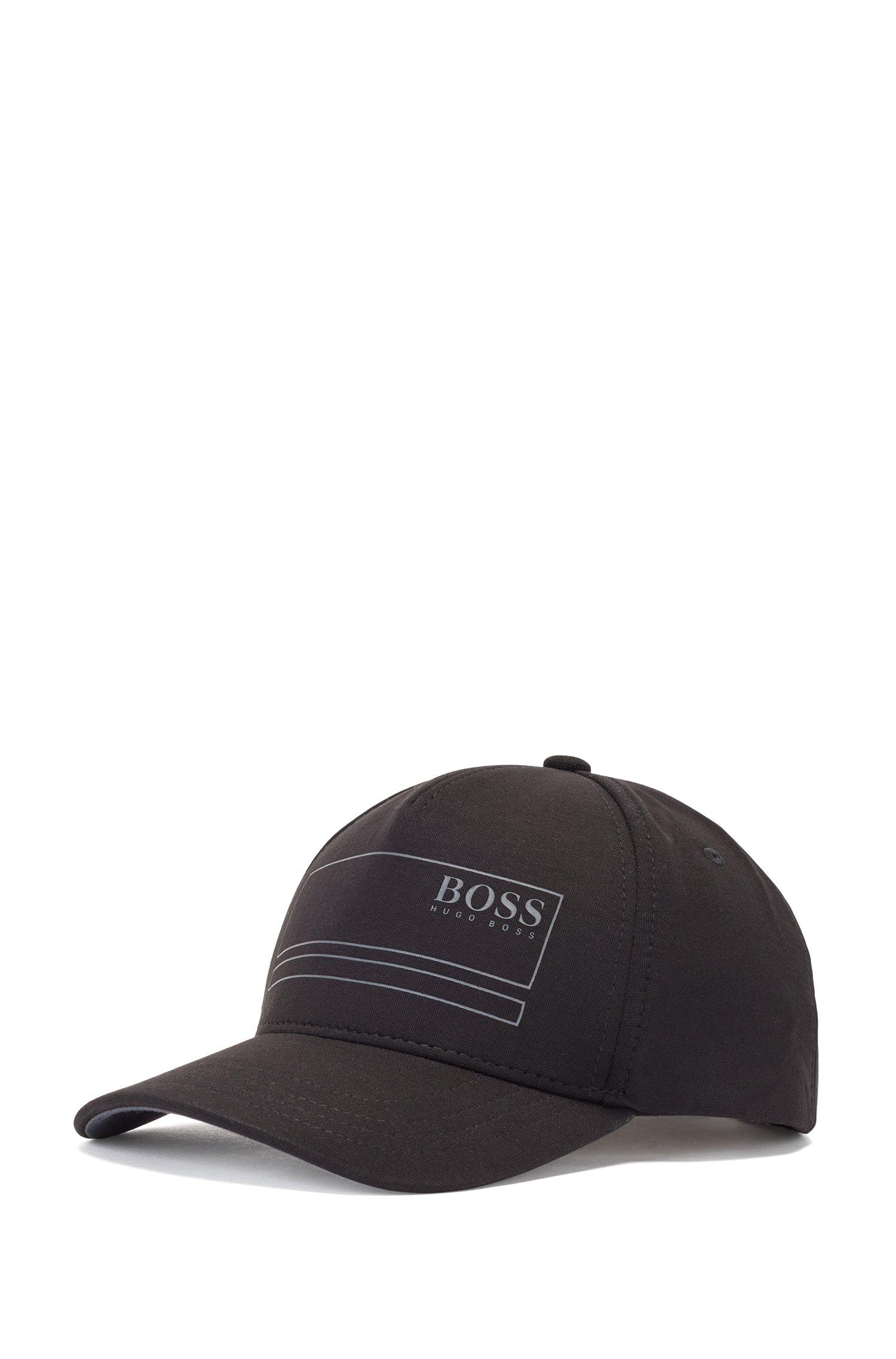 Cotton-blend cap with contrast logo print, Black