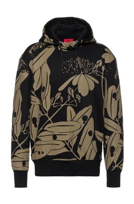 Hooded sweatshirt in French terry with new-season print, Black Patterned