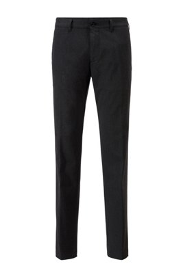 Regular-fit chinos in two-tone stretch twill, Black