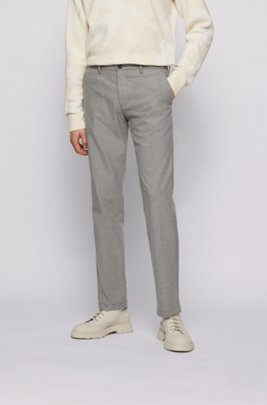 Regular-fit chinos in two-tone stretch twill, Light Grey