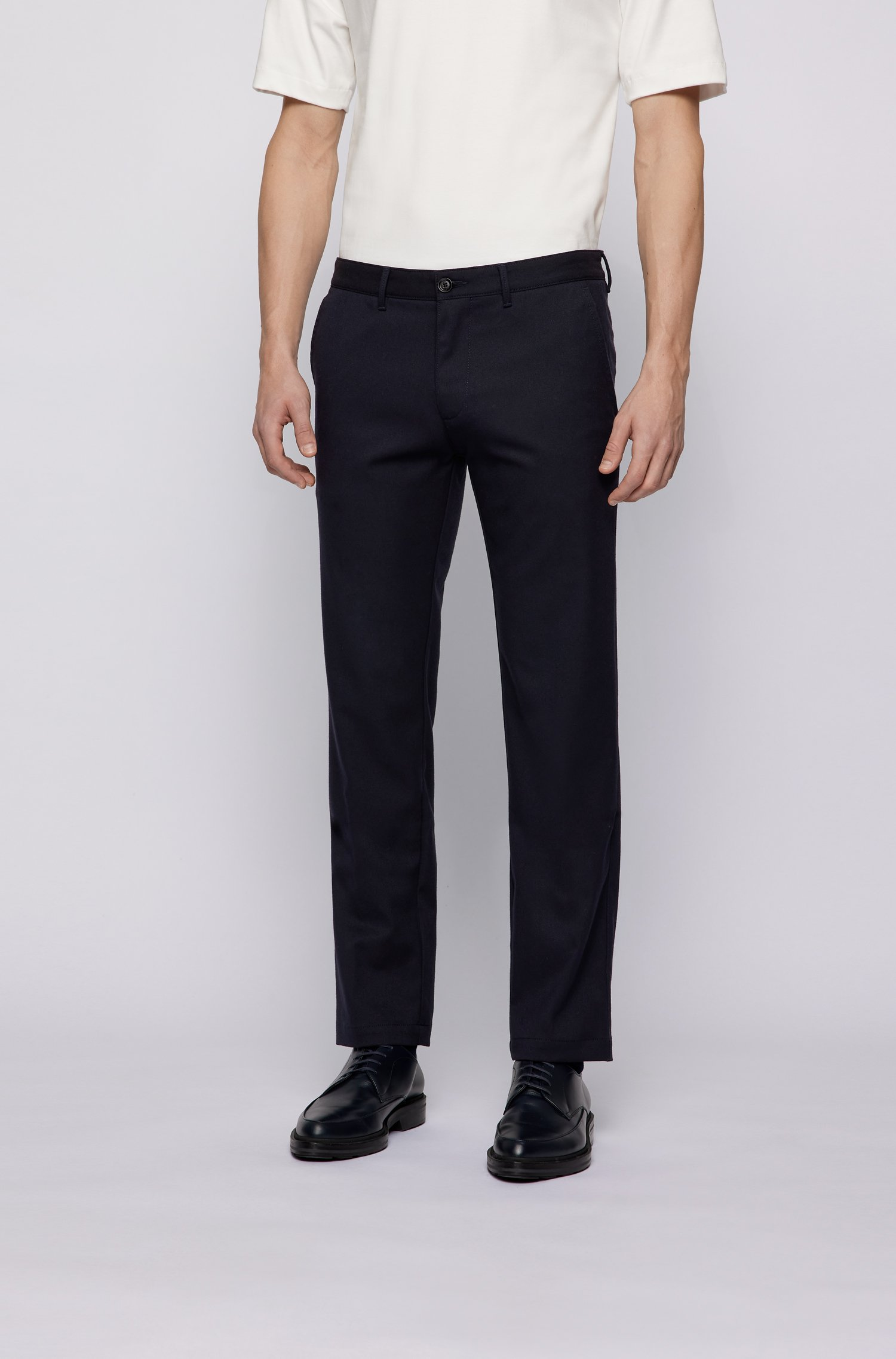 Regular-fit chinos in two-tone stretch twill, Dark Blue