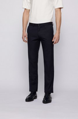 Regular-fit chinos in two-tone stretch twill, Dark Blue