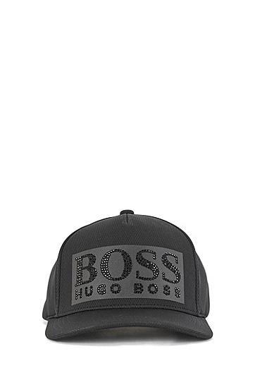 饰以黑色水钻徽标的蜂窝平纹针织面料鸭舌帽,  001_黑色
