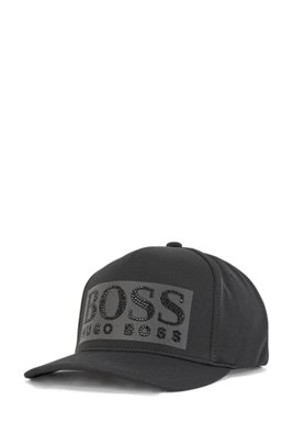 Honeycomb-jersey cap with black-rhinestone logo, Black