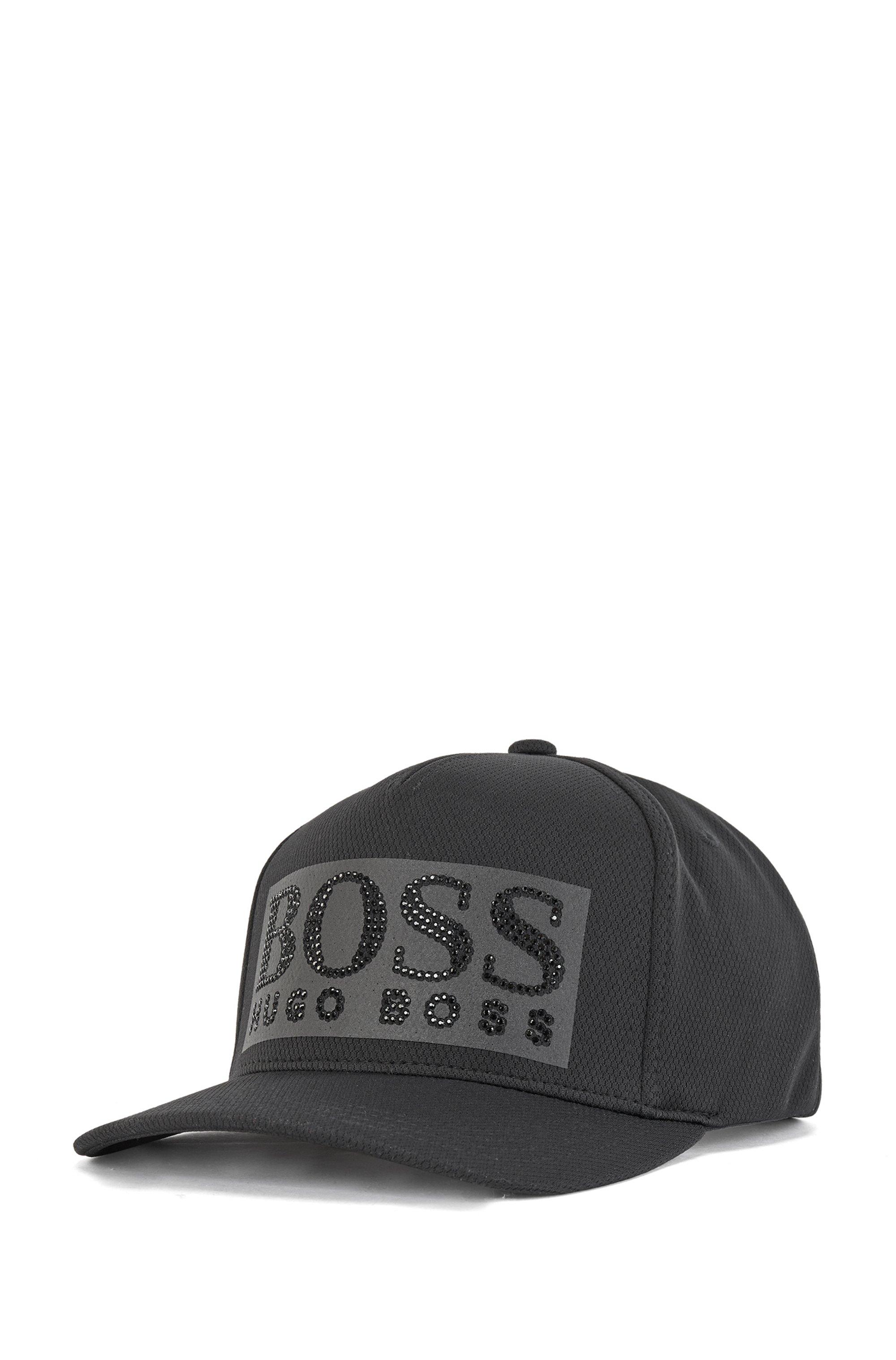 Honeycomb-jersey cap with black-rhinestone logo, Black