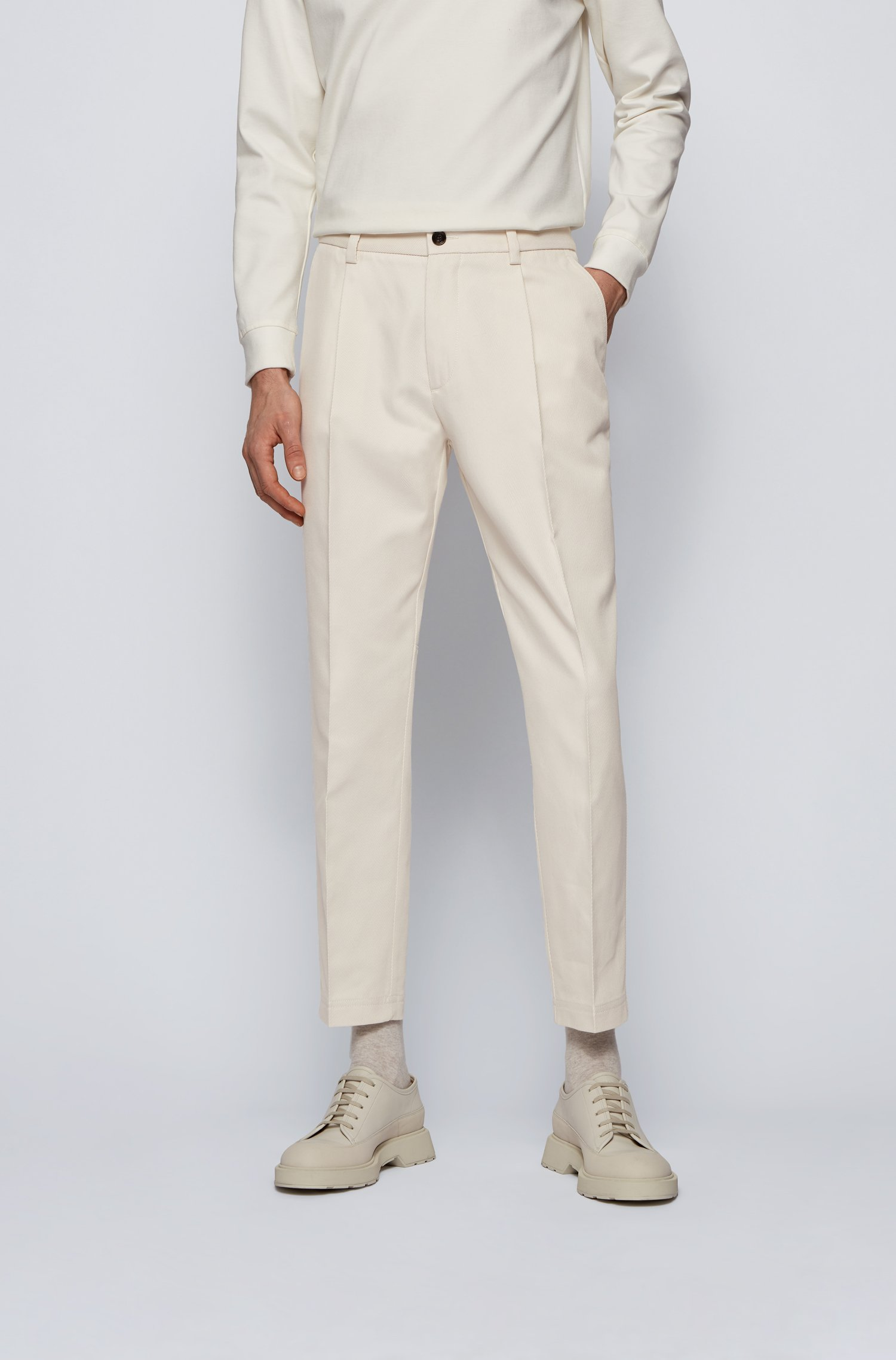 Pleated relaxed-fit trousers in an Italian cotton blend, White