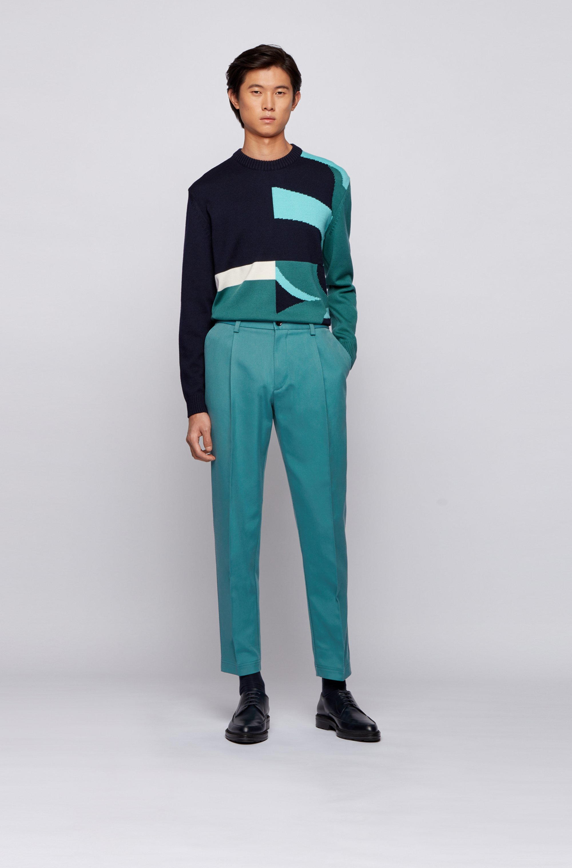 Pleated relaxed-fit trousers in an Italian cotton blend