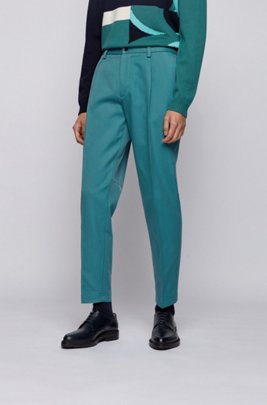 Pleated relaxed-fit trousers in an Italian cotton blend, Light Green
