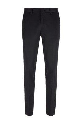 Slim-fit broek van stretchmateriaal met zijde, Zwart