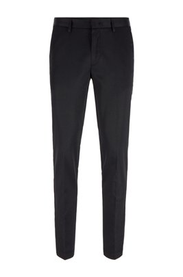 Slim-fit trousers in stretch fabric containing silk, Black