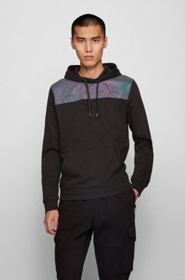 French-terry hooded sweatshirt with iridescent panel, Black