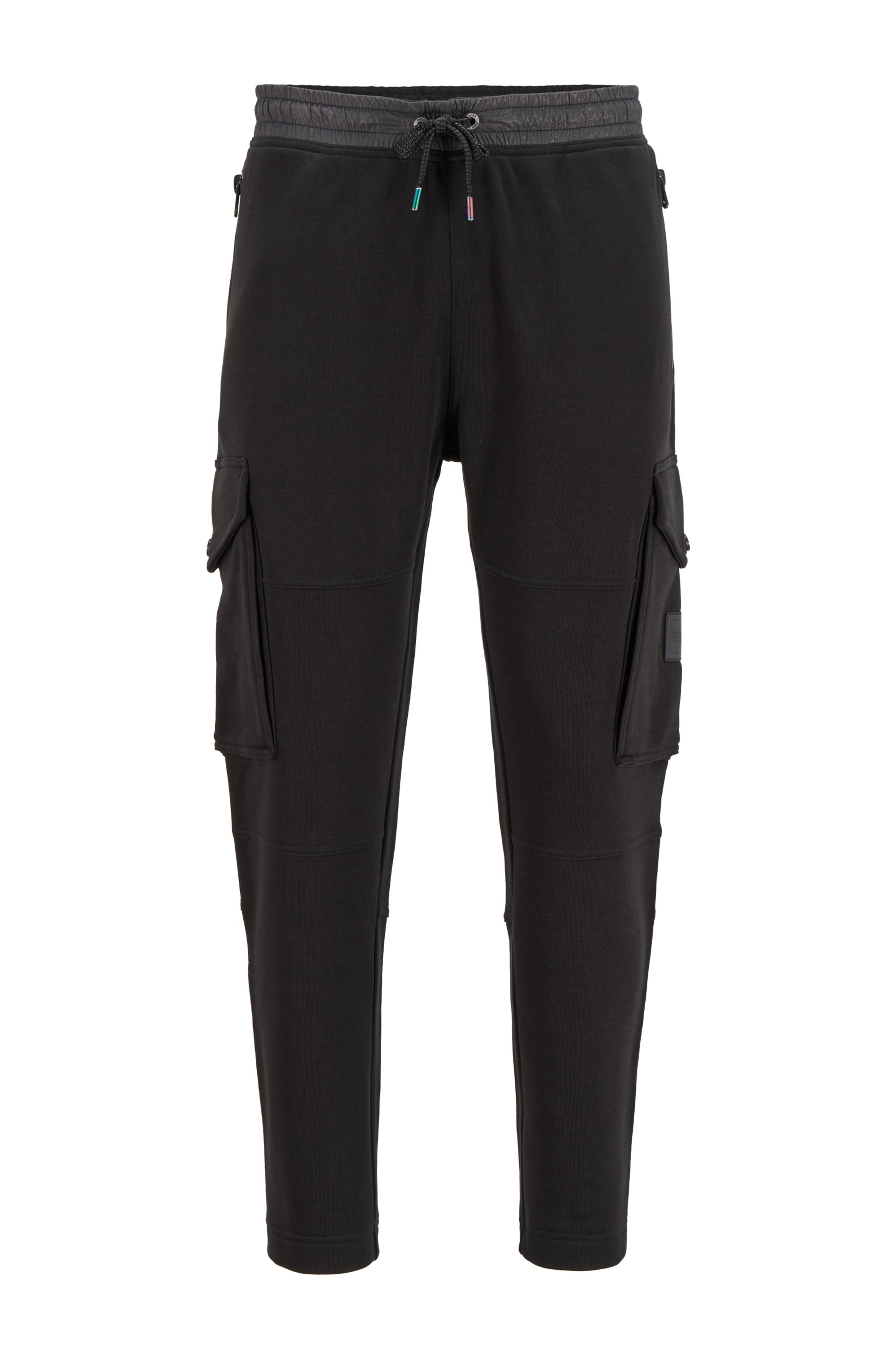 Jogging trousers in French terry with iridescent trims, Black