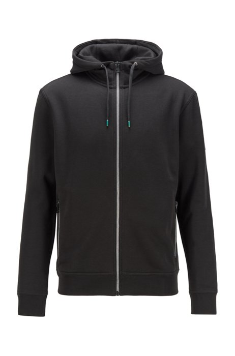 French-terry zip-through jacket with iridescent details, Black