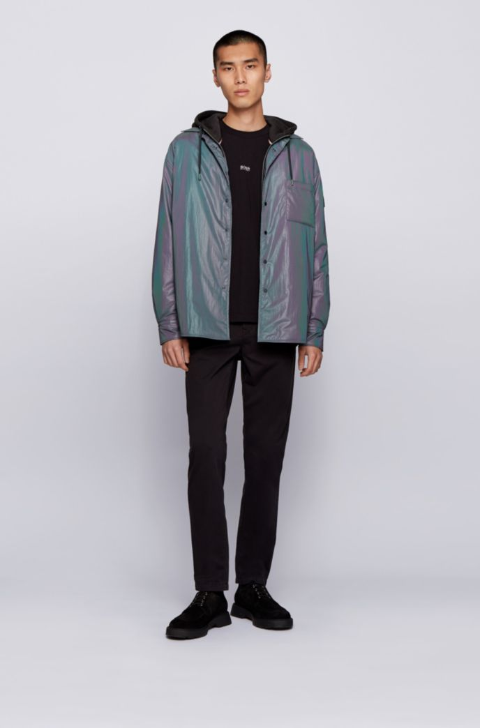 French-terry zip-through jacket with iridescent details