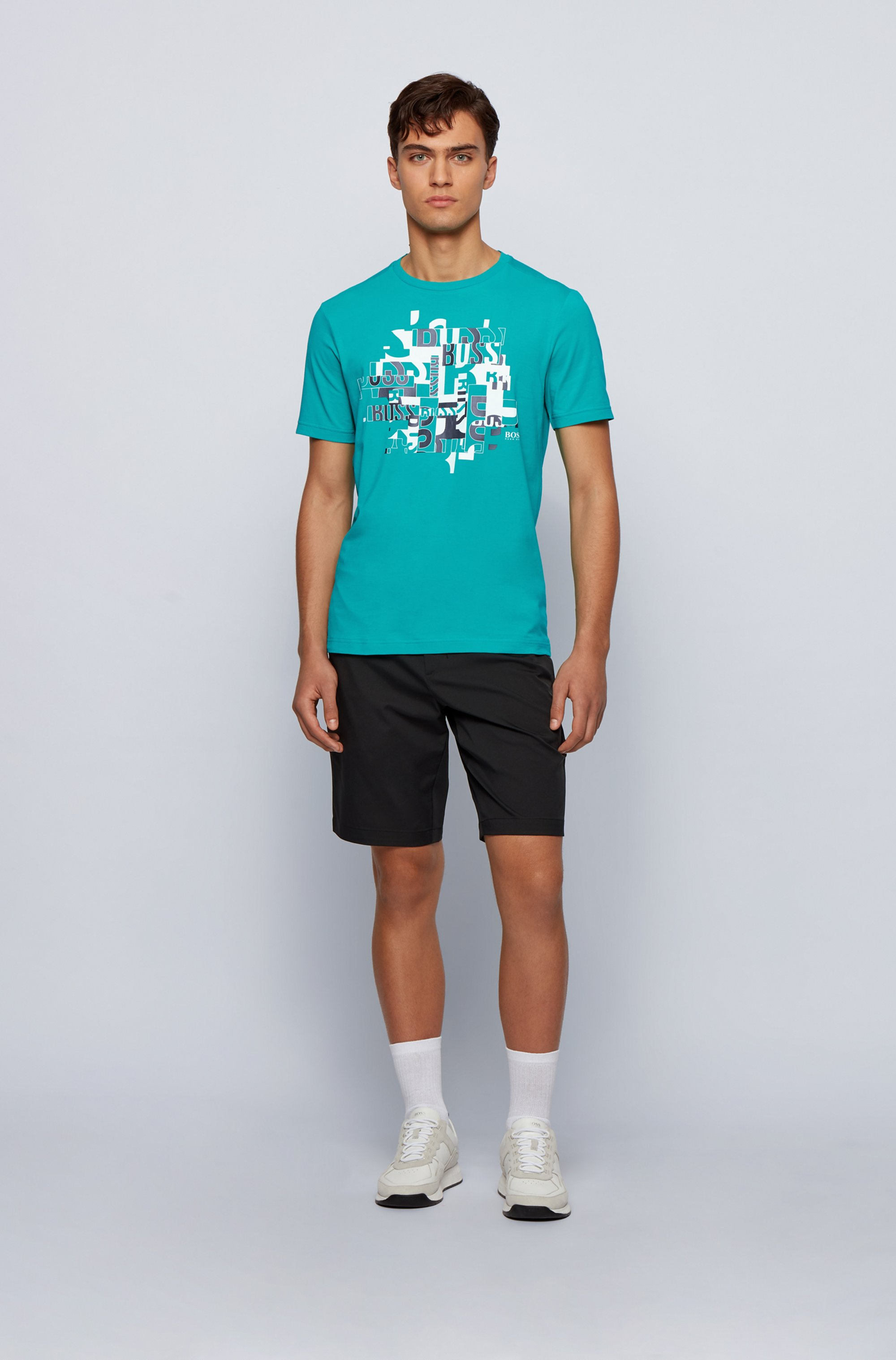 T-Shirt aus Bio-Baumwolle mit Elasthan-Anteil und typografischem Logo-Print