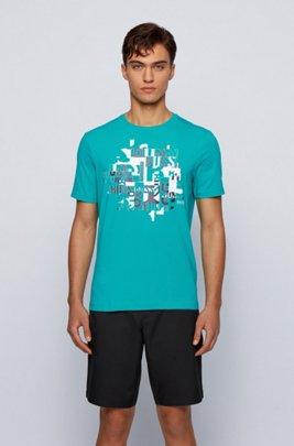 T-Shirt aus Bio-Baumwolle mit Elasthan-Anteil und typografischem Logo-Print, Grün