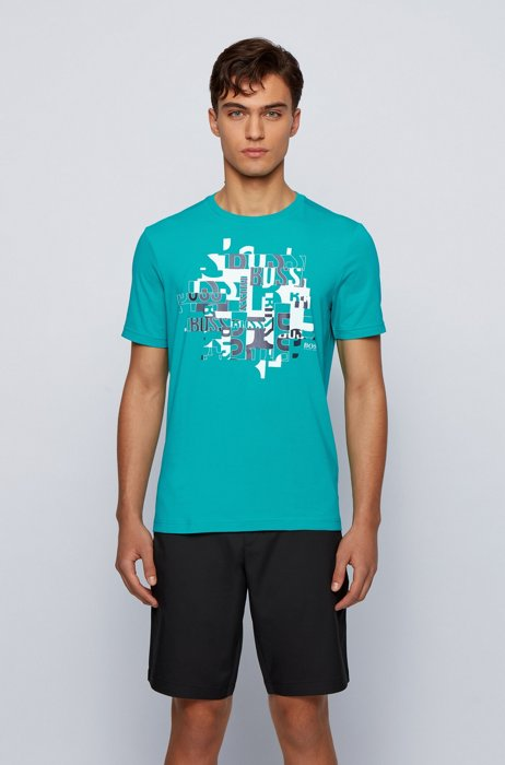 Typographical logo-print T-shirt in organic cotton with stretch, Green