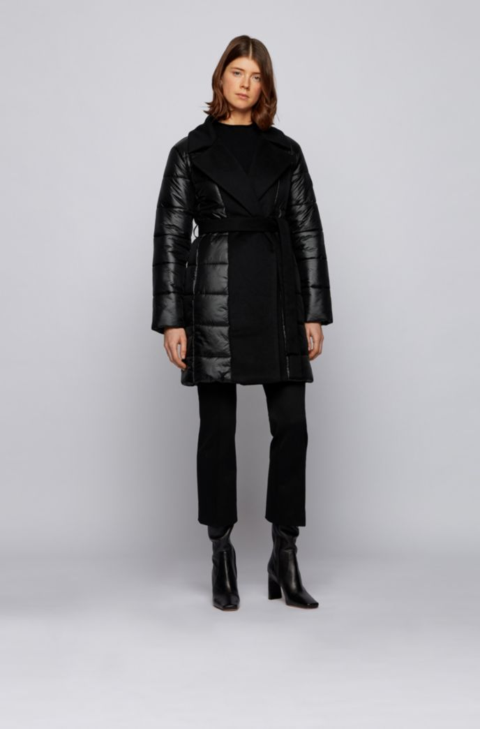 Glossy double-breasted padded jacket with fabric inserts