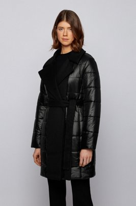 Glossy double-breasted padded jacket with fabric inserts, Black