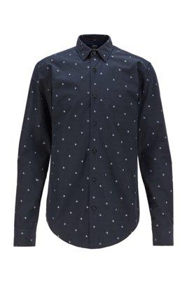 Slim-Fit Hemd aus italienischer Baumwolle mit Stern-Motiv, Schwarz