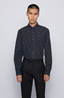 Italian-cotton slim-fit shirt with star motifs, Black