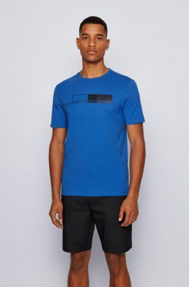 Pure-cotton T-shirt with block-print logo, Blue