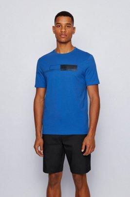 Pure-cotton T-shirt with block-print logo, Blue