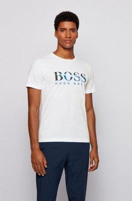 T-shirt en jersey de coton à imprimé logo effet photographique, Blanc
