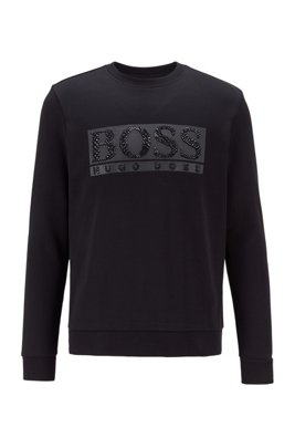 Cotton-blend sweatshirt with rhinestone logo, Black