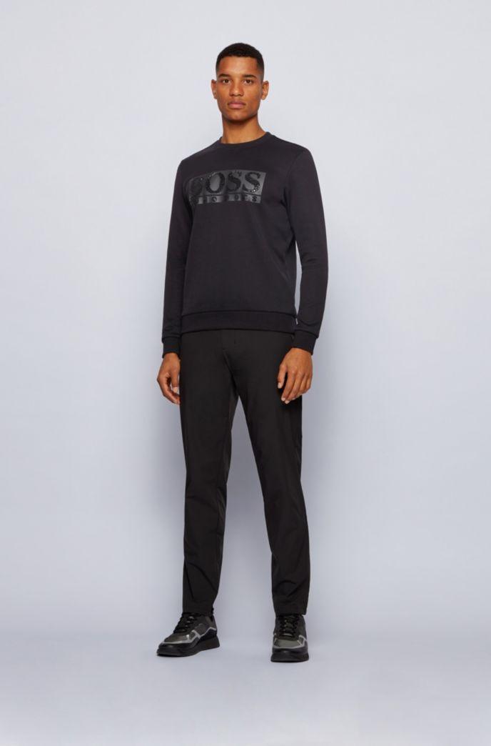Cotton-blend sweatshirt with rhinestone logo