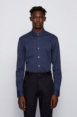 Slim-fit shirt in micro-structured cotton jersey, Dark Blue