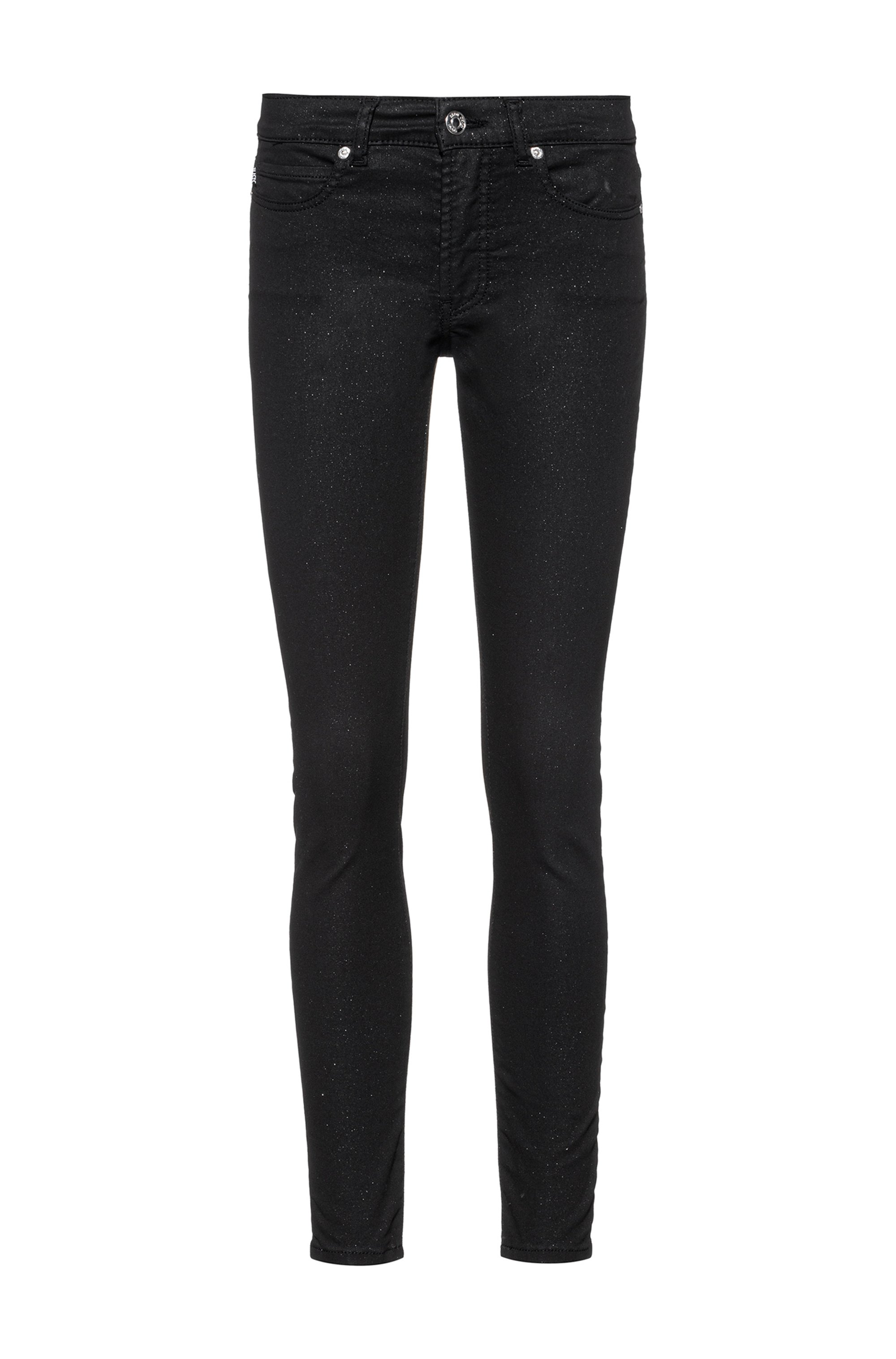 CHARLIE skinny-fit jeans in glitter-effect black stretch denim, Black