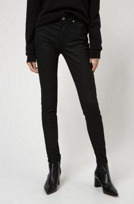 CHARLIE skinny-fit jeans in glitter-effect black stretch denim, Black