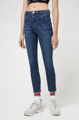 LOU skinny-fit jeans in mid-blue stretch denim, Blue