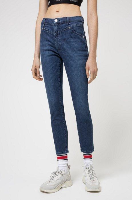 Skinny-fit jeans model LOU, van middenblauw stretchdenim, Blauw