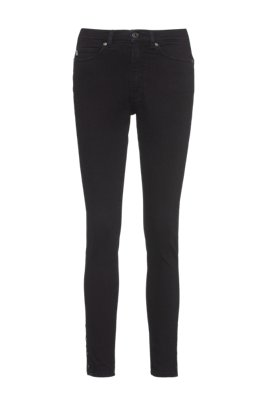 LOU skinny-fit jeans in stretch denim with buttoned hems, Dark Blue