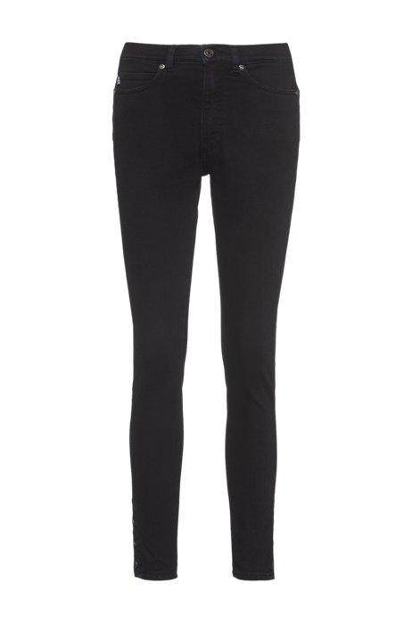 Jeans skinny fit LOU in denim elasticizzato con fondo gamba con bottoni, Blu scuro